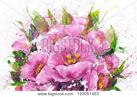 Bouquet of pink flowers. Oil painting on Canvas. Isolated on white background