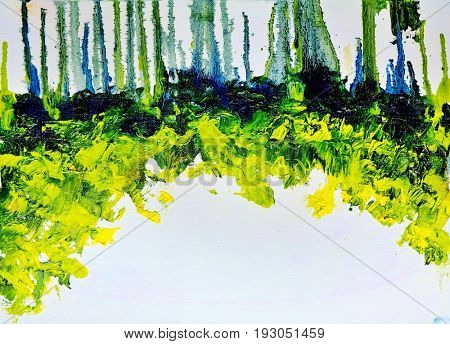 Abstract colorful green summer forest strip. Oil painting on canvas