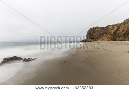 Pirates Cove and Point Dume with motion blur and clouds in Malibu, California.