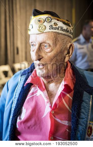 94-year-old Pearl Harbor survivor John Seelie attends the Memorial Day Observance service on the Intrepid Sea, Air & Space Museum during Fleet Week NY 2017, NEW YORK MAY 29 2017.