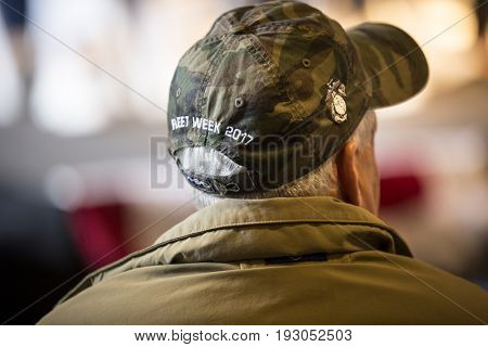 U.S. veterans attend the Memorial Day Observance ceremony on the Intrepid Sea, Air & Space Museum during Fleet Week NY 2017, NEW YORK MAY 29 2017.