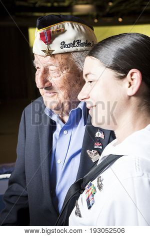 96-year-old Pearl Harbor survivor Armando 'Chick' Galella attends the Memorial Day Observance service on the Intrepid Sea, Air & Space Museum during Fleet Week NY 2017, NEW YORK MAY 29 2017.