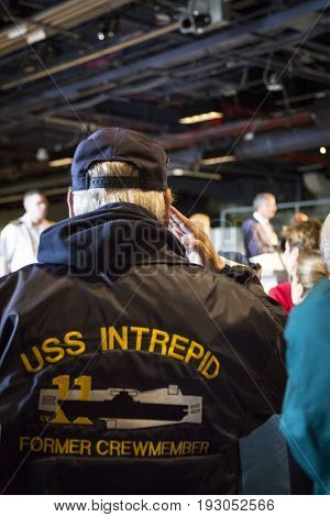 U.S. veterans including former members of the USS Intrepid attend the Memorial Day Observance service on the Intrepid Sea, Air & Space Museum during Fleet Week NY 2017, NEW YORK MAY 29 2017.