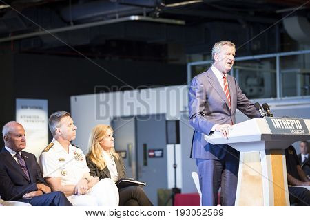 Bill de Blasio, Mayor, New York City, speaks at the annual Memorial Day Observance ceremony on the Intrepid Sea, Air & Space Museum in Manhattan during Fleet Week, NEW YORK MAY 29 2017.