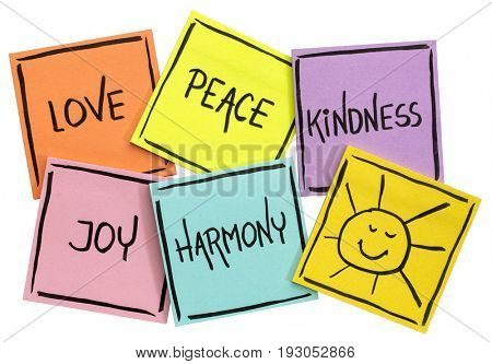 love,  peace, kindness, joy and harmony with sun smiley -  isolated set of sticky notes with inspirational words