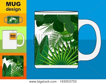 Template of a gift souvenir white mug with an trendy design.