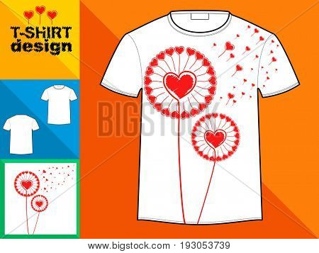 Template T-shirt with an trendy design: hearts dandelion. Vector illustration.