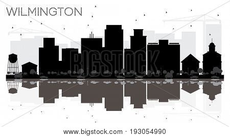 Wilmington City skyline black and white silhouette with reflections. Cityscape with landmarks