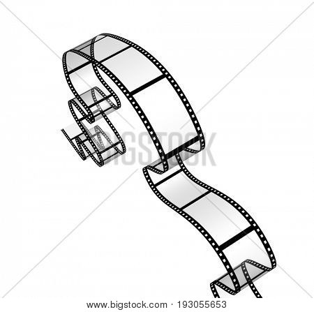 Single blank filmstrip. Object isolated on white background. 3d render