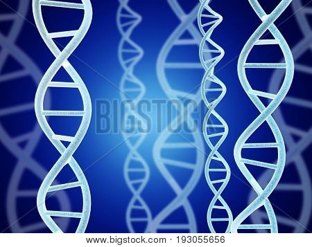 Digital models of DNA structure on abstract blue background. 3d render