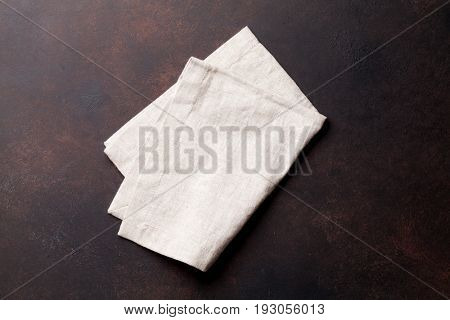 Kitchen table with towel. Top view with copy space
