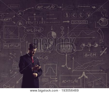 Businessman with smartphone.  Schematic background. Business and office, concept.