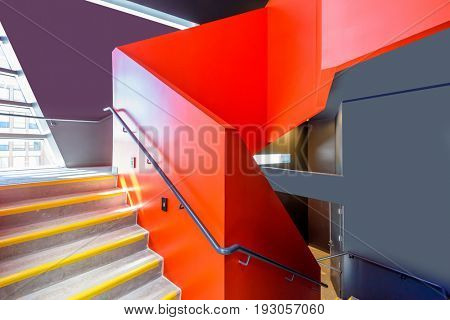 Stairs. Top view of modern architecture detail. Refined fragment of contemporary office interior or public building.