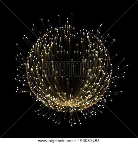 Beautiful abstract light rays tracing effect with gold neon line and glowing glitter star dust particles on black background.