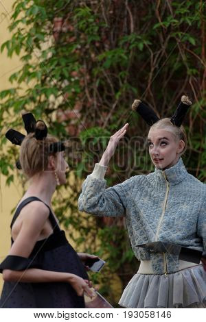 ST. PETERSBURG, RUSSIA - JUNE 24, 2017: Theatrical fashion show of Ianis Chamalidy and Stas Lopatkin during the project Associations-2017. This year the main theme of the project is Gothic: new senses