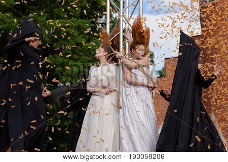 ST. PETERSBURG, RUSSIA - JUNE 24, 2017: Theatrical fashion show of Lilia Kisselenko during the project Associations-2017. This year the main theme of the project is Gothic: new senses