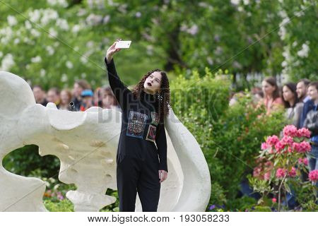 ST. PETERSBURG, RUSSIA - JUNE 24, 2017: Theatrical fashion show of Tatiana Parfionova during the project Associations-2017. This year the main theme of the project is Gothic: new senses