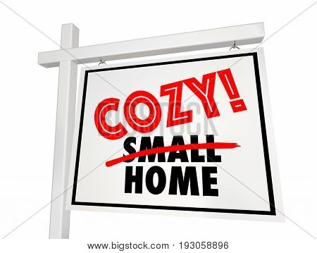 Cozy Small Home House for Sale Sign Real Estate 3d Illustration