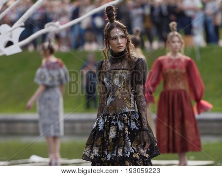 ST. PETERSBURG, RUSSIA - JUNE 24, 2017: Theatrical fashion show of Leonid Alexeev during the project Associations-2017. This year the main theme of the project is Gothic: new senses