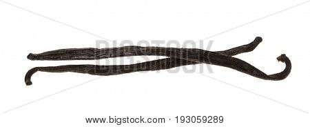 Two whole vanilla bean pods isolated on white background