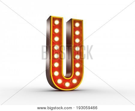 High quality 3D illustration of the letter U in vintage style with light bulbs illuminating it.