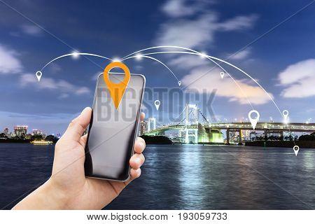 mobile phone with sydney suspension bridge in australia at twilight