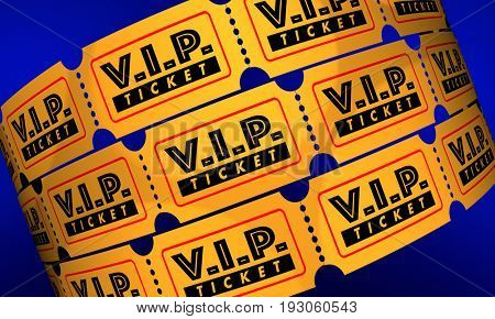 VIP Ticket Exclusive Premium Special Event 3d Illustration