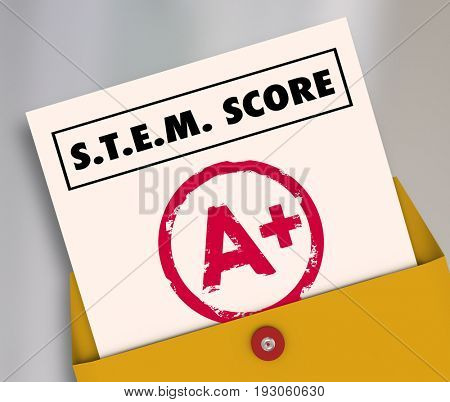 STEM Score Grade Report Card Science Math 3d Illustration
