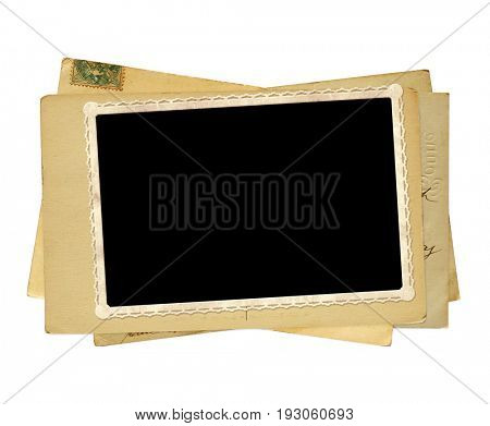Vintage post cards and old photo. Isolated on white background