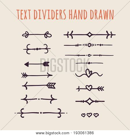 Set of hand drawn text dividers isolated on light background. Old paper Decoration. Vector vintage ornament for design text books, greeting cards and invitations