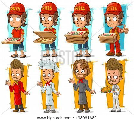 Cartoon pizza delivery boy and cook chef restaurant character vector set