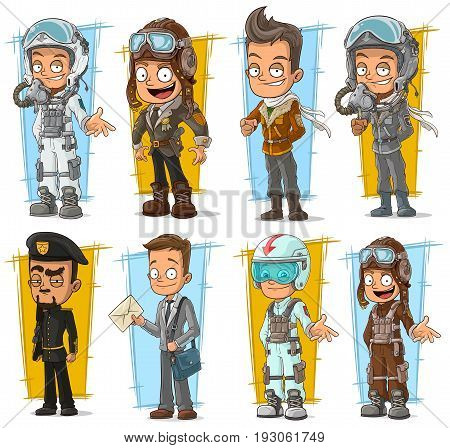 Cartoon cool pilot in helmet and postman character vector set