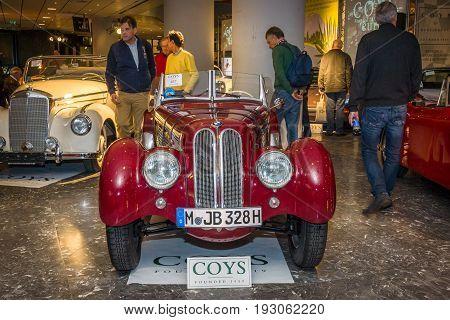 MAASTRICHT NETHERLANDS - JANUARY 15 2016: Vintage car BMW 328 Roadster 1936. International Exhibition InterClassics & Topmobiel 2016