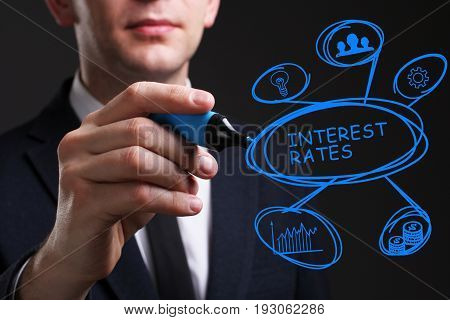 Business, Technology, Internet And Network Concept. Young Business Man Writing Word: Interest Rates