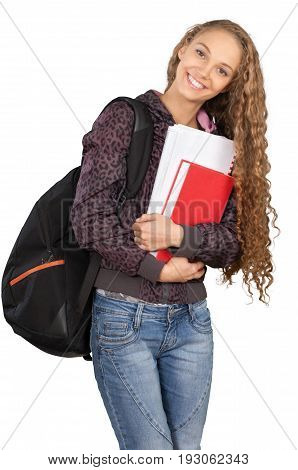 Female young college student college student white background teenage girl