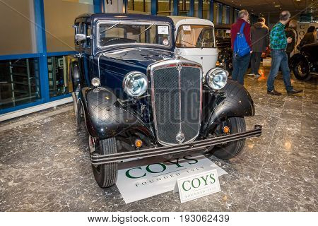 MAASTRICHT NETHERLANDS - JANUARY 15 2016: Vintage car Morris Twelve Four Pre-Series 1937. International Exhibition InterClassics & Topmobiel 2016