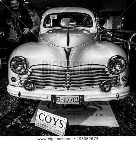 MAASTRICHT NETHERLANDS - JANUARY 15 2016: Large family car Peugeot 203 Break