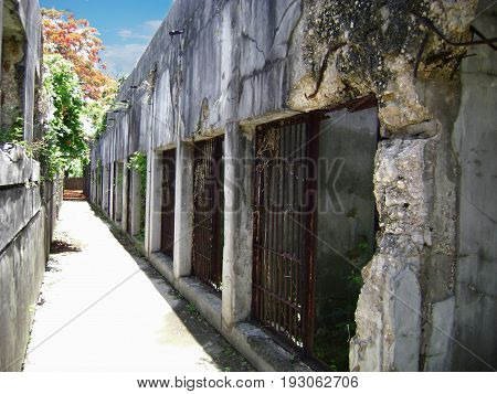 Old Japanese jail cellblocks with missing bars, Saipan The cellblocks of the Old Japanese Jail in Garapan, Saipan, with missing bars