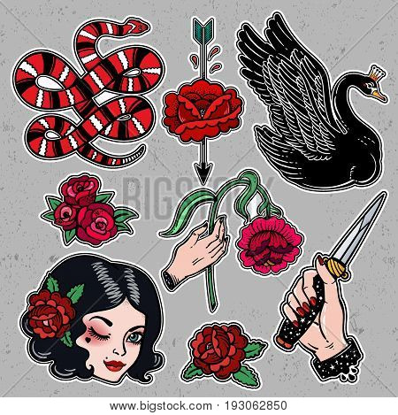 Set of dangerous femme fatale related classic flash tattoo style patches or elements. Set of traditional stickers, pins, in 90 s comic style. Pop art items. Fashionable vector collection, vintage kit.