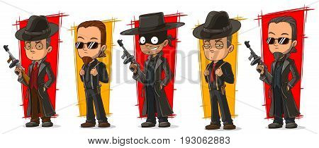 Cartoon cool criminal bandit mafiosi with gun character vector set