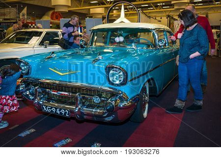 MAASTRICHT NETHERLANDS - JANUARY 15 2016: Full-size car Chevrolet Bel Air 1957. International Exhibition InterClassics & Topmobiel 2016