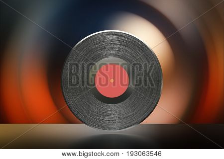 3d rendering black vinyl record with red core