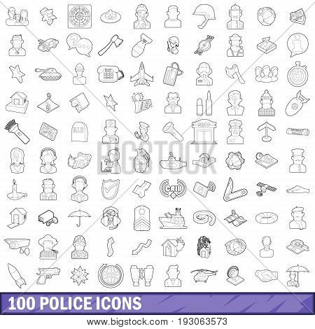 100 police icons set in outline style for any design vector illustration