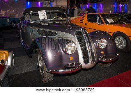 MAASTRICHT NETHERLANDS - JANUARY 15 2016: Vintage car BMW 327/328 1938. International Exhibition InterClassics & Topmobiel 2016