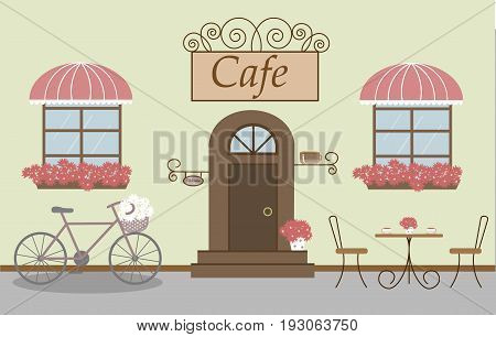 Pretty scenery in a rustic style. A cafe, two windows with a striped awnings, door, stairs, red flowers. A bike and basket of daisies. A cute table and chairs. Vector illustration