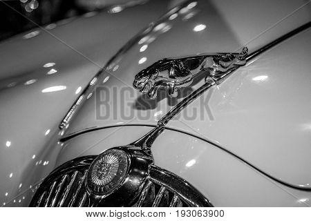 MAASTRICHT NETHERLANDS - JANUARY 15 2016: Hood ornament (Jaguar in the jump) of the Jaguar XK150. Black and white. International Exhibition InterClassics & Topmobiel 2016