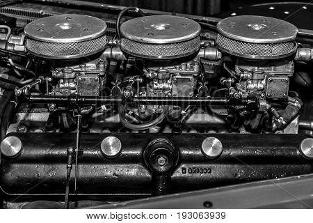 MAASTRICHT NETHERLANDS - JANUARY 15 2016: Engine of vintage car BMW/EMW 327/328 1952. Black and white. International Exhibition InterClassics & Topmobiel 2016