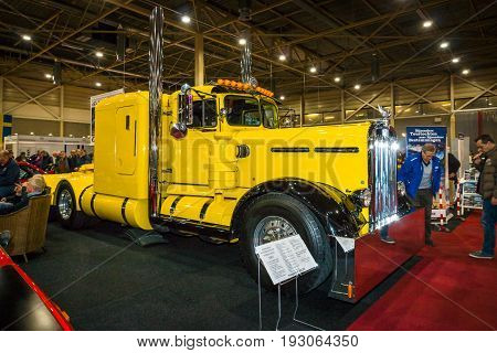 MAASTRICHT NETHERLANDS - JANUARY 15 2016: Heavy Truck Kenworth 925 (needle nose butterfly hood) 1957. International Exhibition InterClassics & Topmobiel 2016