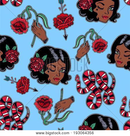 Seamless pattern with sexy dark girl, femininity related classic flash tattoo style elements. Design for textiles and print in 90 s comic style. Pop art item. Fashionable vintage repeating background.