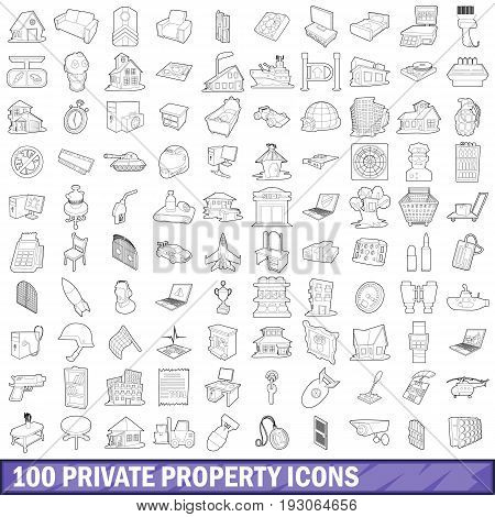 100 private property icons set in outline style for any design vector illustration